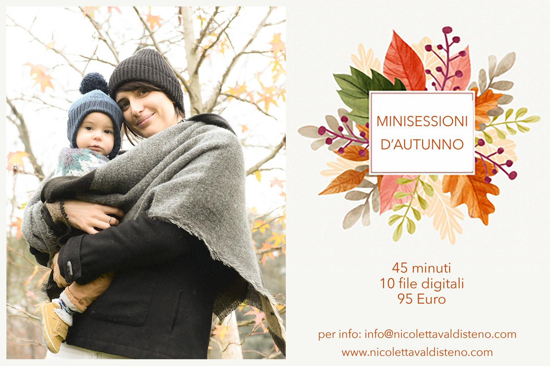 cartolina minisessione fotografica d'autunno Nicoletta Valdisteno